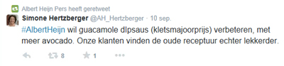 Tweet van Albert Heijn