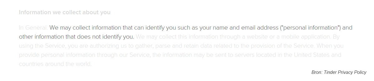 Tinder Privacyvw personal information