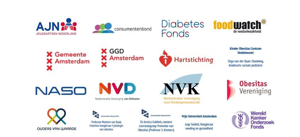 Logo's van partijen van de Alliantie Stop Kindermarketing ongezonde voeding