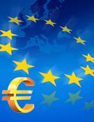 Afbeelding van een Euro-teken in combinatie met het symbool voor Europa (een cirkel met sterren).