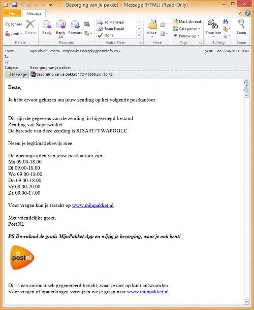 Een voorbeeld van het phishing mailtje.