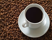 kopje koffie op bonen