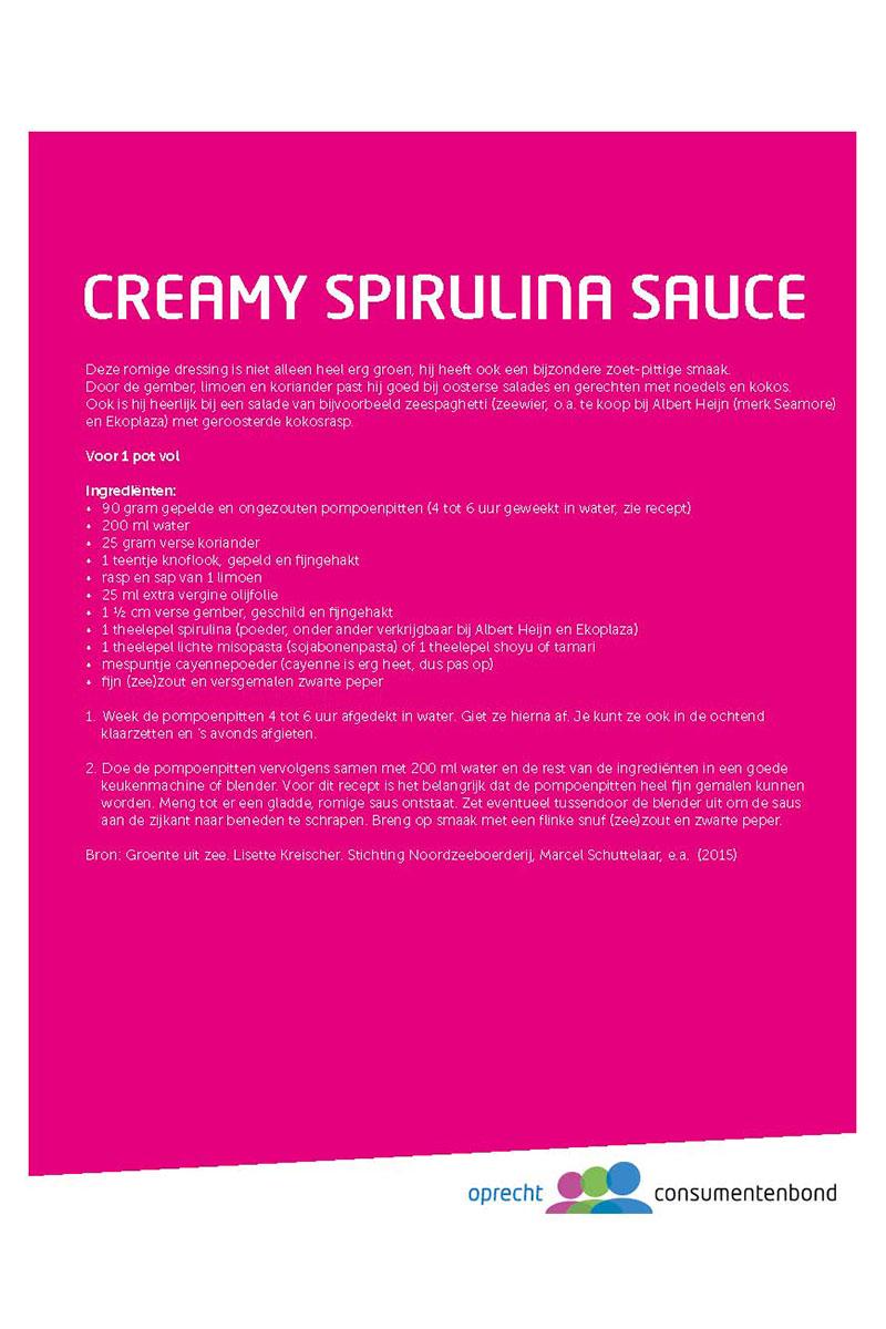 Recept Creamy spirulina sauce