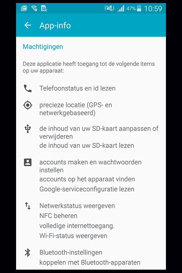 App machtigingen Android 2