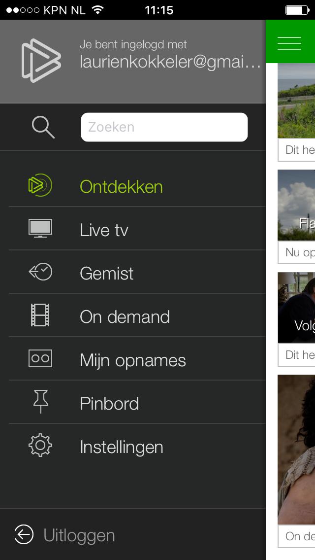 KPN Play menu