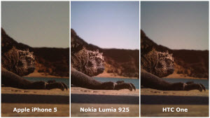 Foto's van de Apple iPhone 5, Nokia Lumia 925 en HTC One vergeleken