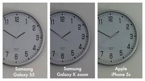 Foto's van een klok met de Samsung Galaxy S5, de Samsung Galaxy K zoom en de Apple Iphone 5s