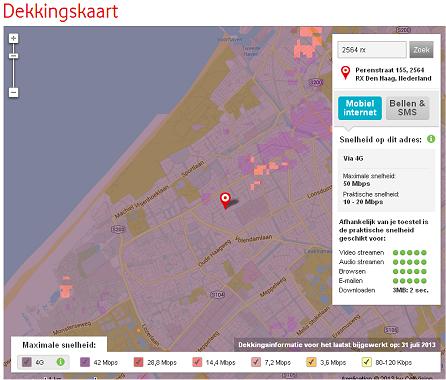De maximale en praktische snelheden zoals beloofd door Vodafone voor Den Haag.
