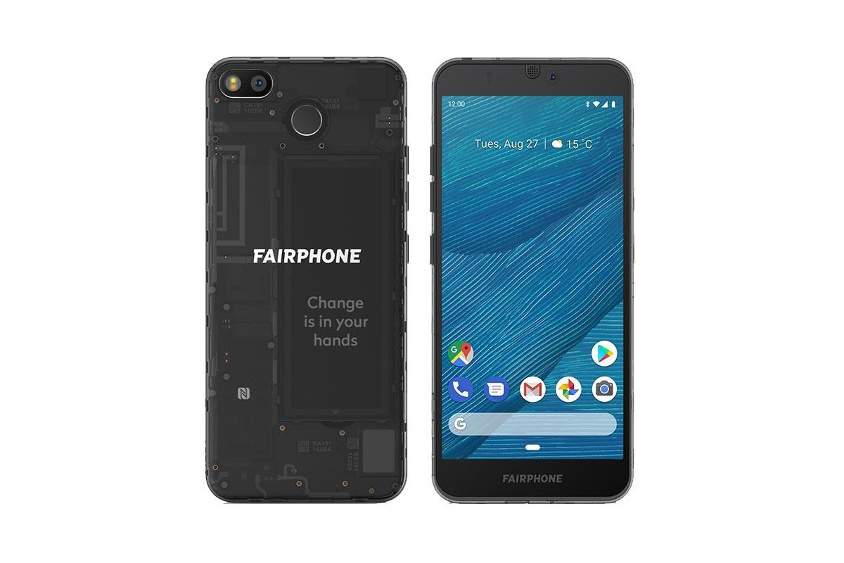 Fairphone 3 achterkant en voorkant