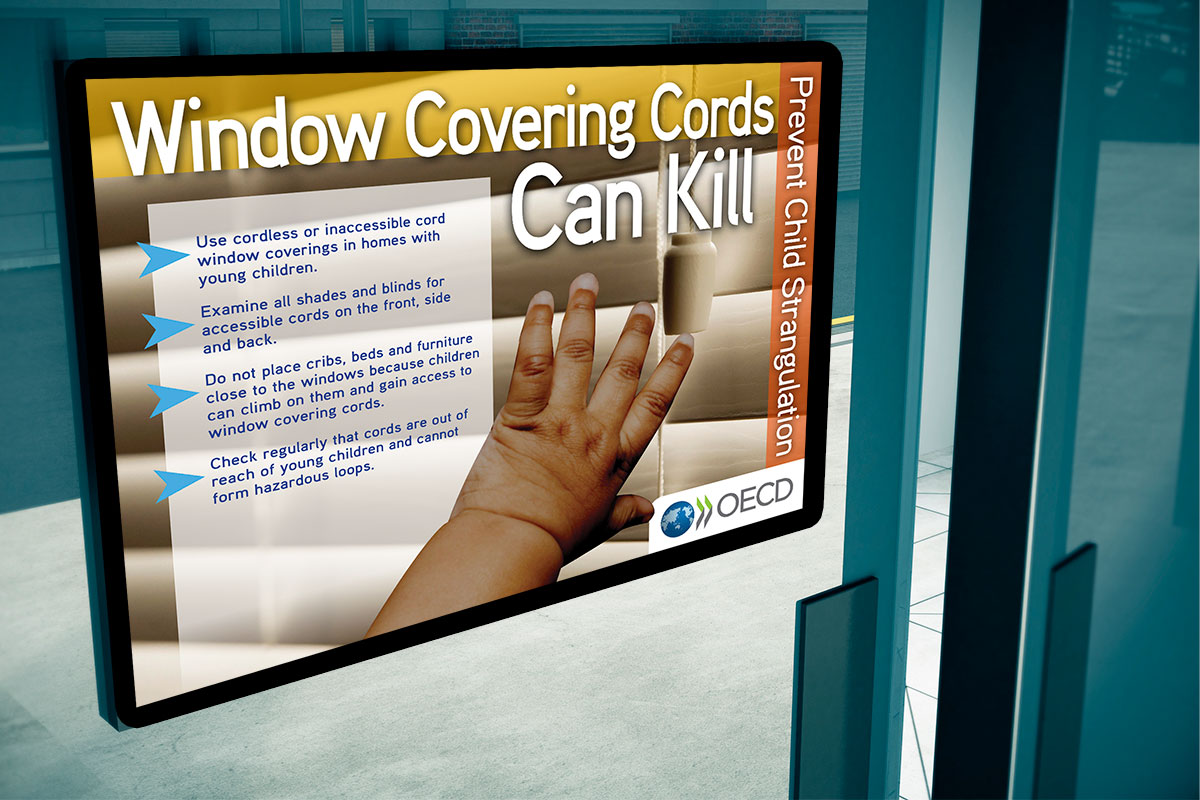 raamdecoratie met waarschuwing