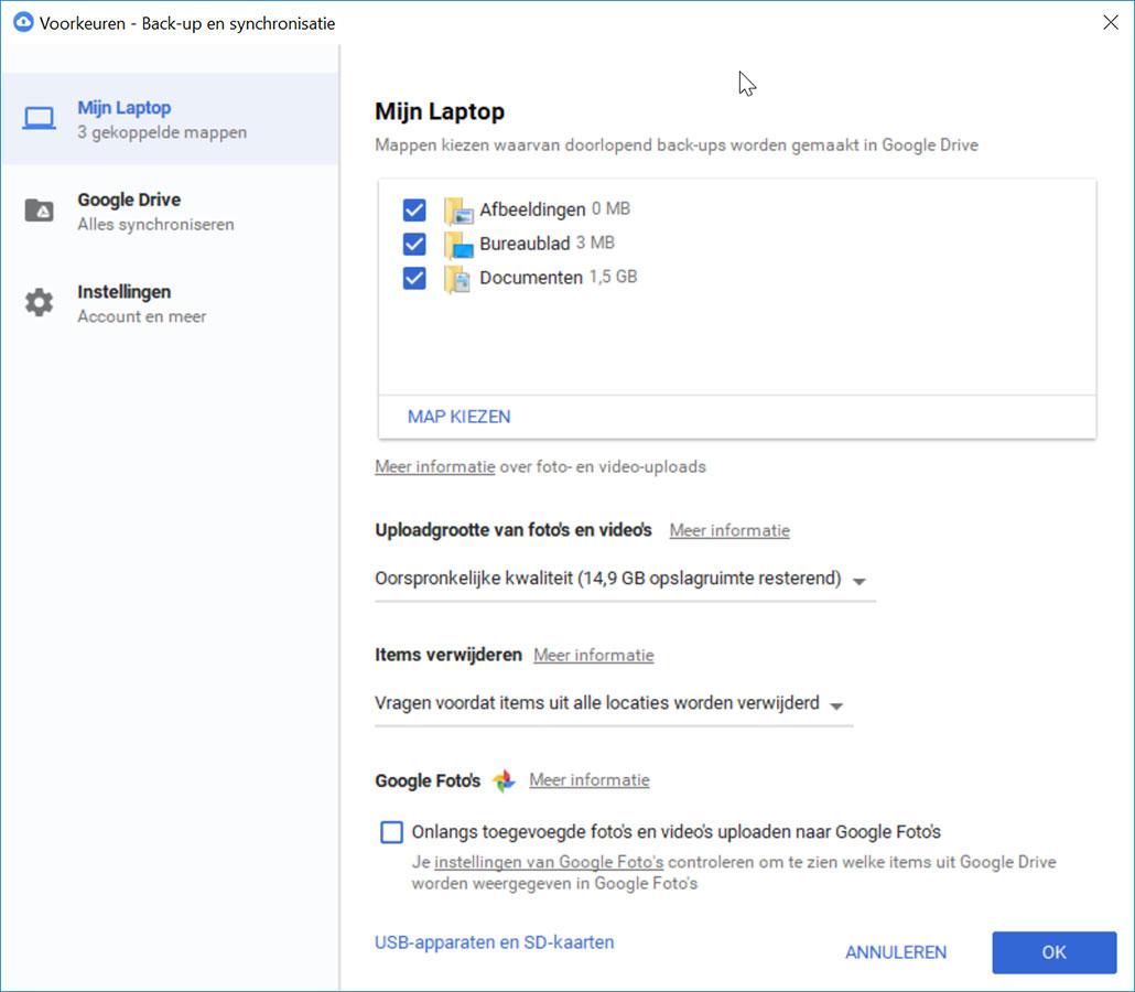 Klik voor vergroting - Google Back-up en Sync